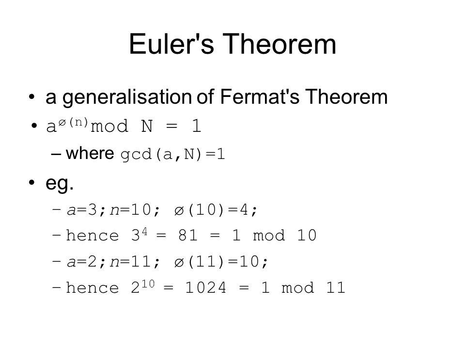 Euler s Theorem a generalisation of Fermat s Theorem aø(n)mod N = 1