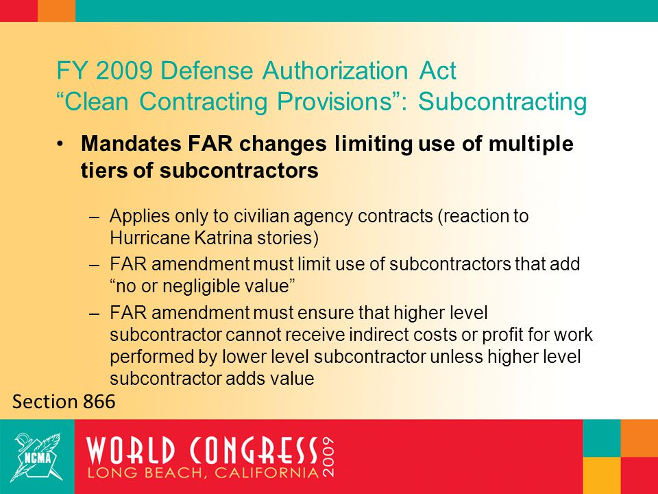 Significant Changes in the FAR Regarding Subcontracting