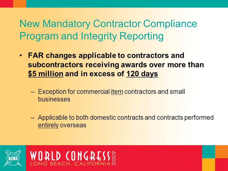 New Mandatory Contractor Compliance Program and Integrity Reporting