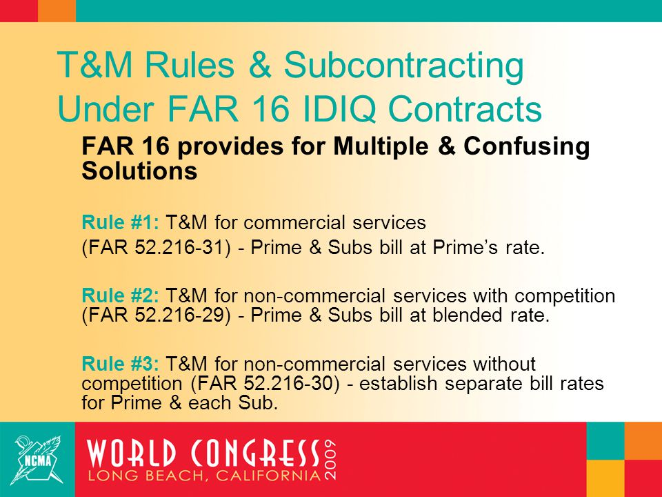 The New T&M Rule & Subcontracting