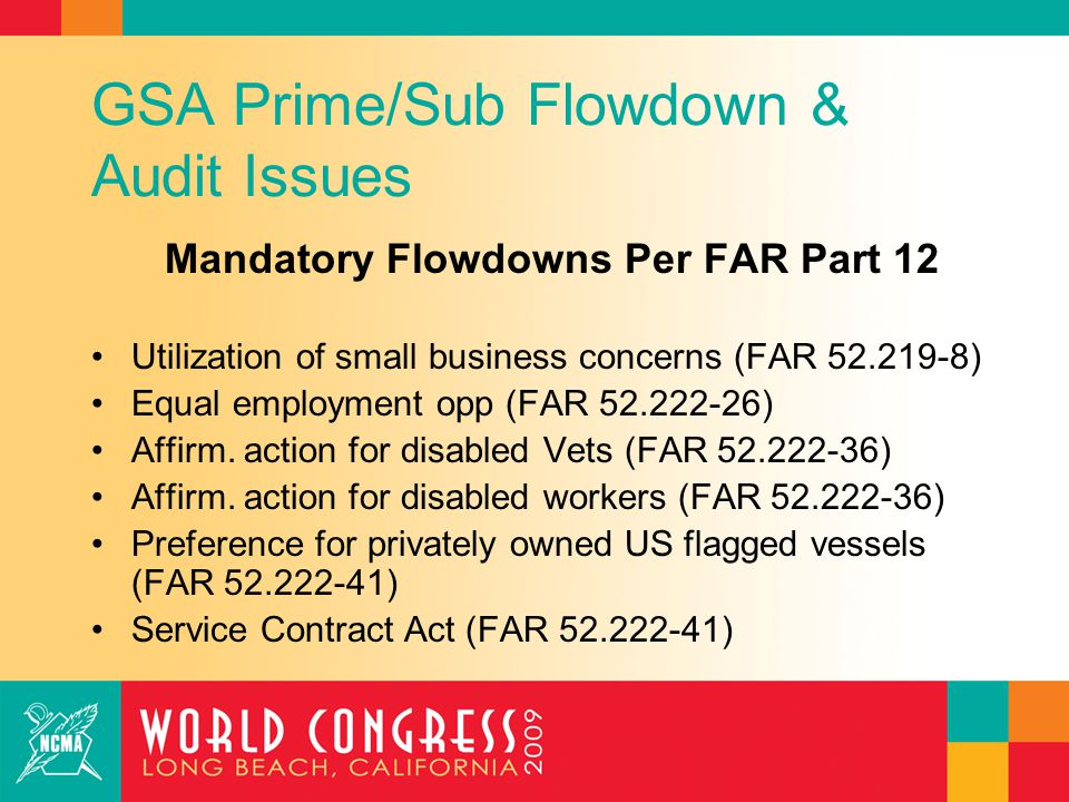 GSA Prime/Sub Flowdown & Audit Issues