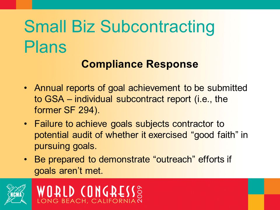 Small Biz Subcontracting Plans