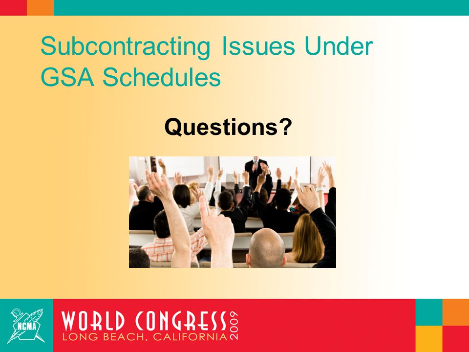 Subcontracting Issues Under GSA Schedules