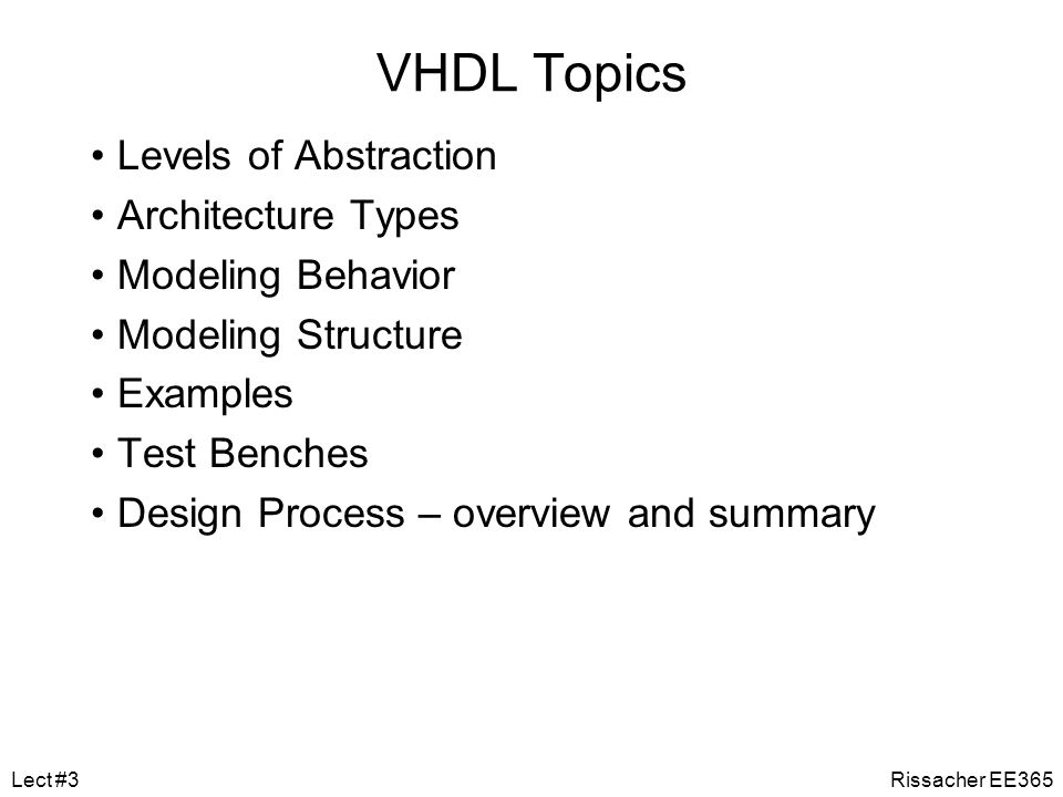 VHDL Topics Levels of Abstraction Architecture Types Modeling Behavior