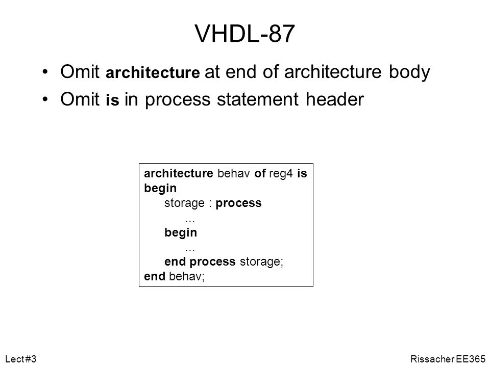 VHDL-87 Omit architecture at end of architecture body