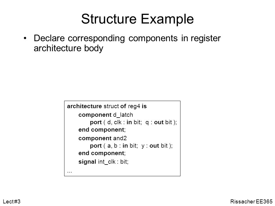 Structure Example Declare corresponding components in register architecture body. architecture struct of reg4 is.