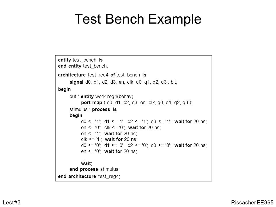 Test Bench Example Lect #3 Rissacher EE365