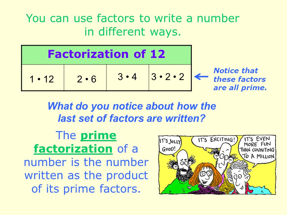 What do you notice about how the last set of factors are written