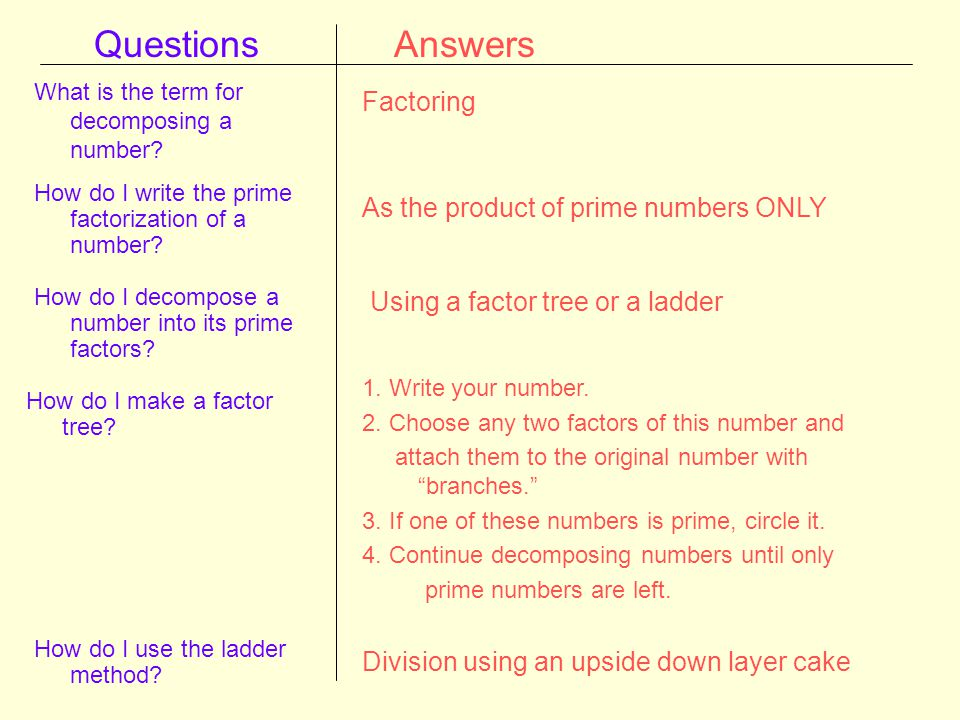 Questions Answers Factoring As the product of prime numbers ONLY