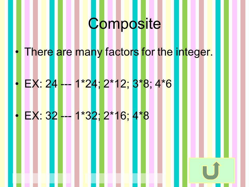 Composite There are many factors for the integer.