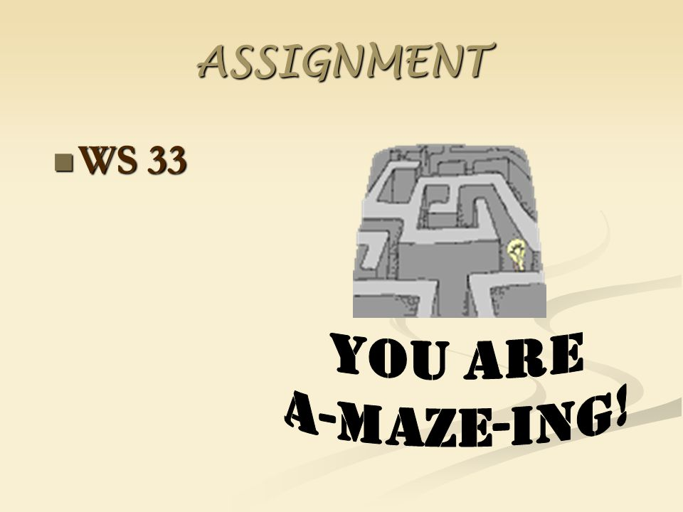 ASSIGNMENT WS 33 You are A-MAZE-ING!