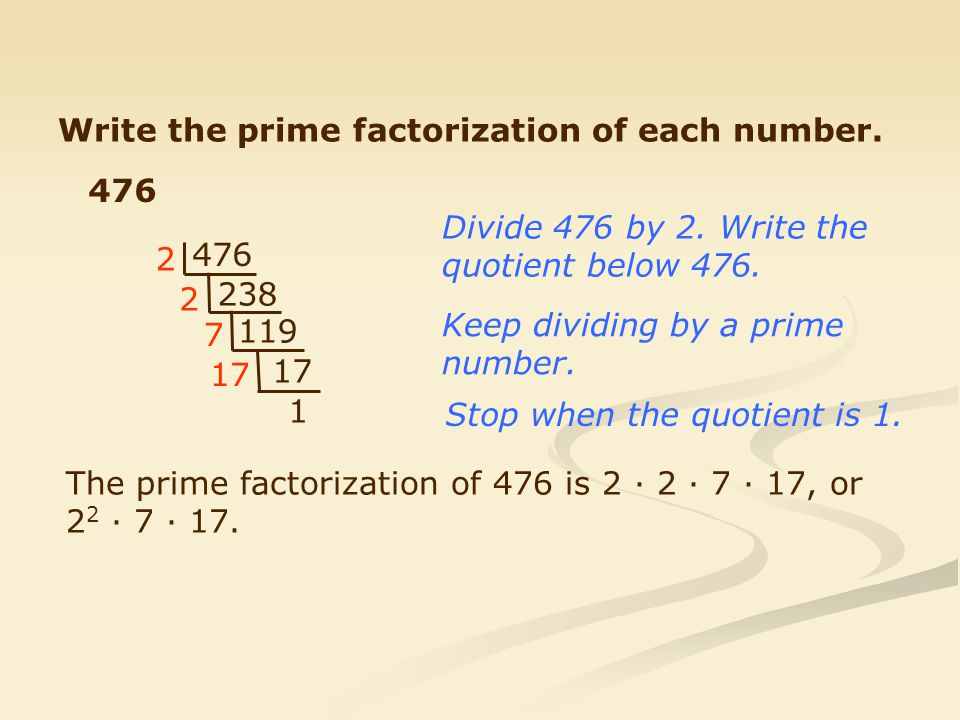 Write the prime factorization of each number.