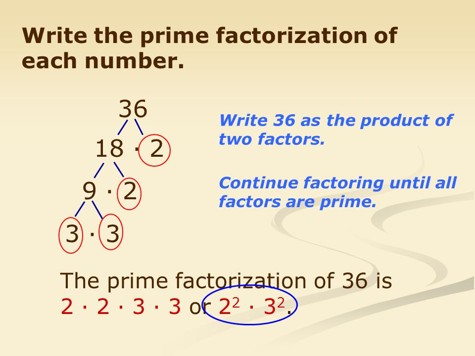 36 18 · 2 9 · 2 3 · 3 Write the prime factorization of each number.