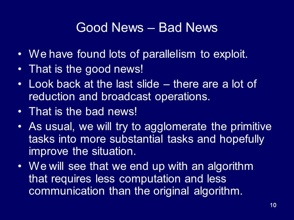 Good News – Bad News We have found lots of parallelism to exploit.