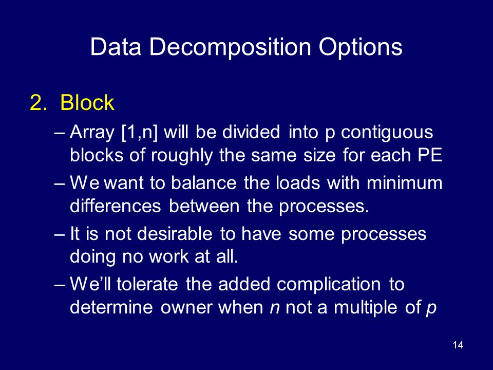 Data Decomposition Options