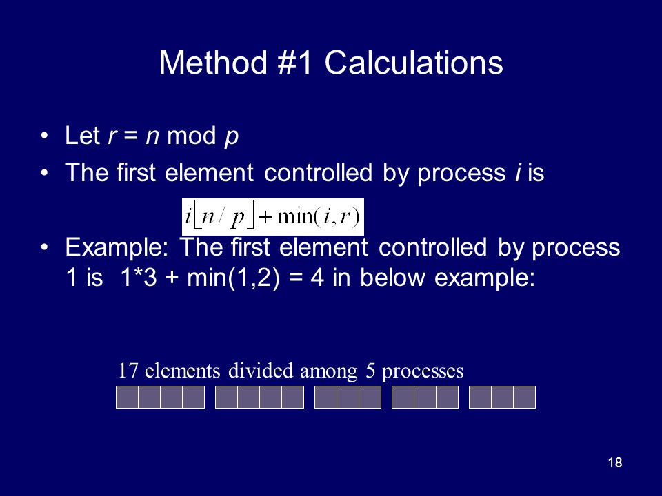 Method #1 Calculations Let r = n mod p
