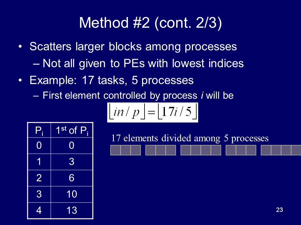Method #2 (cont. 2/3) Scatters larger blocks among processes