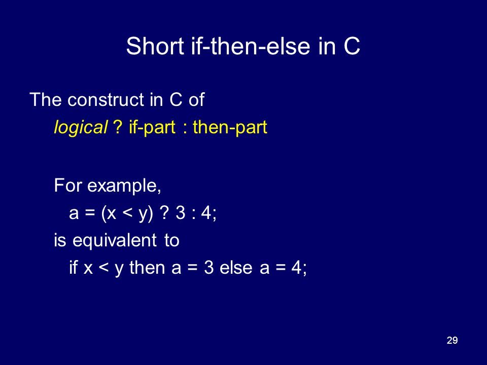Short if-then-else in C