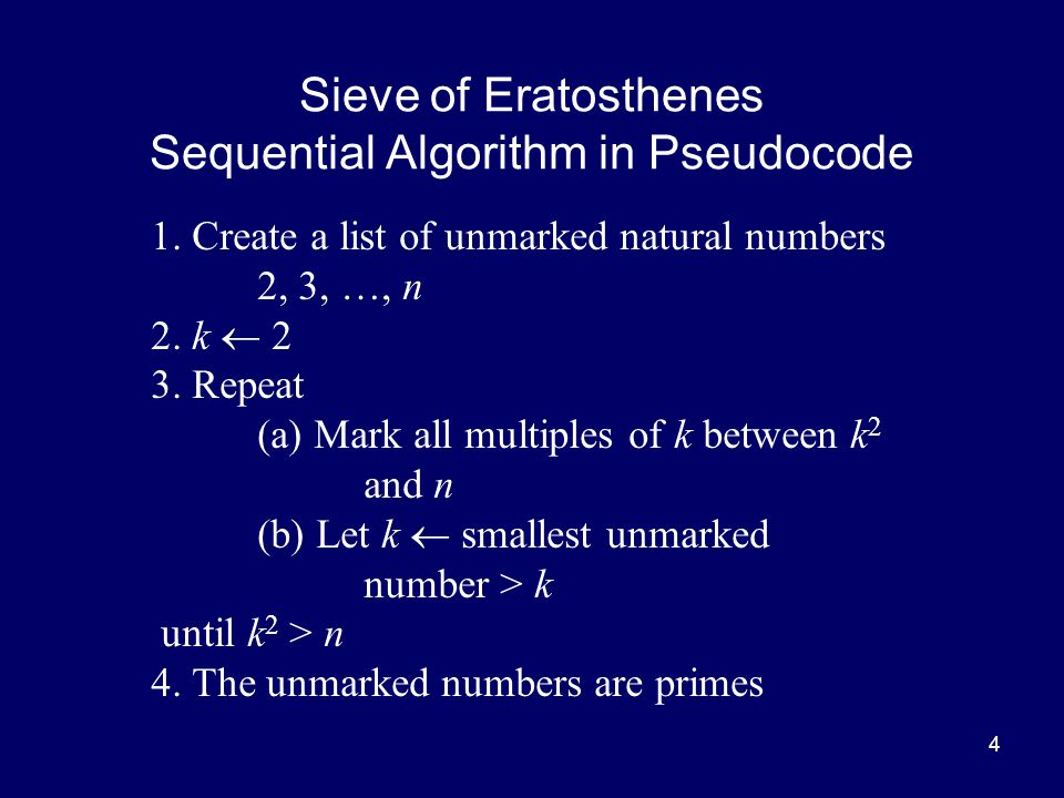 Sieve of Eratosthenes Sequential Algorithm in Pseudocode