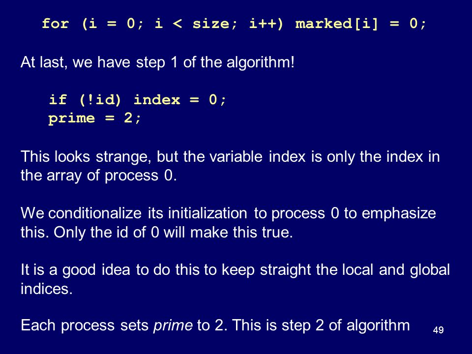 At last, we have step 1 of the algorithm! if (!id) index = 0;