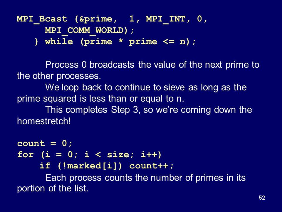 MPI_Bcast (&prime, 1, MPI_INT, 0, MPI_COMM_WORLD);