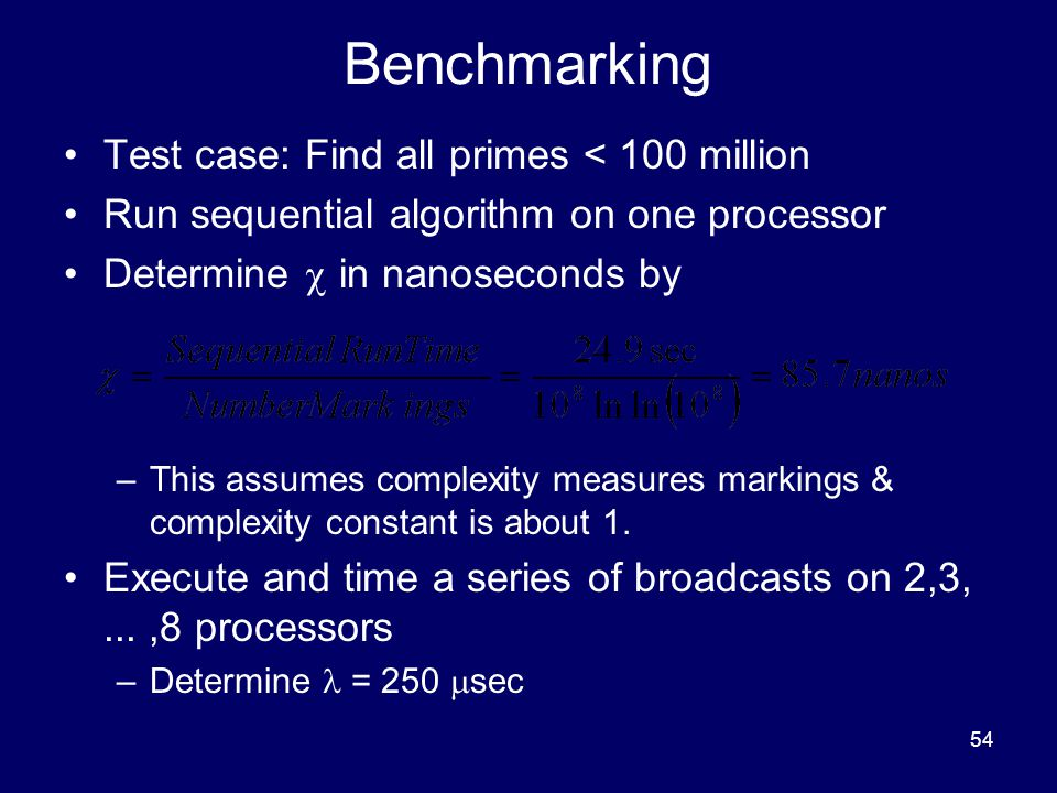 Benchmarking Test case: Find all primes < 100 million