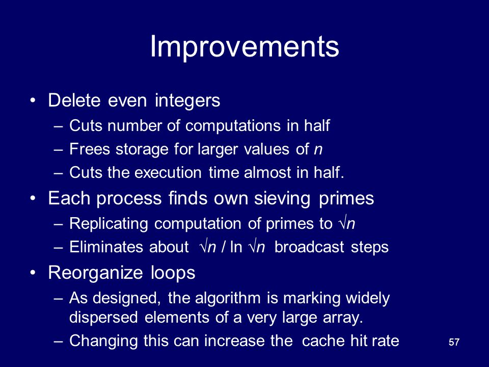 Improvements Delete even integers