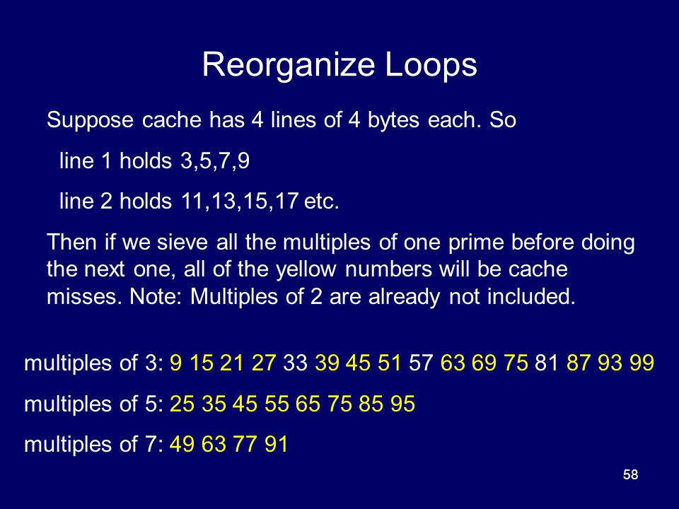 Reorganize Loops Suppose cache has 4 lines of 4 bytes each. So