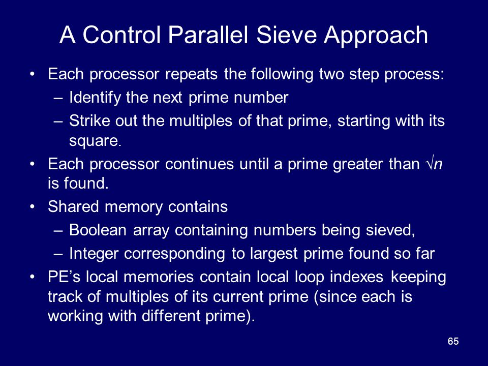A Control Parallel Sieve Approach
