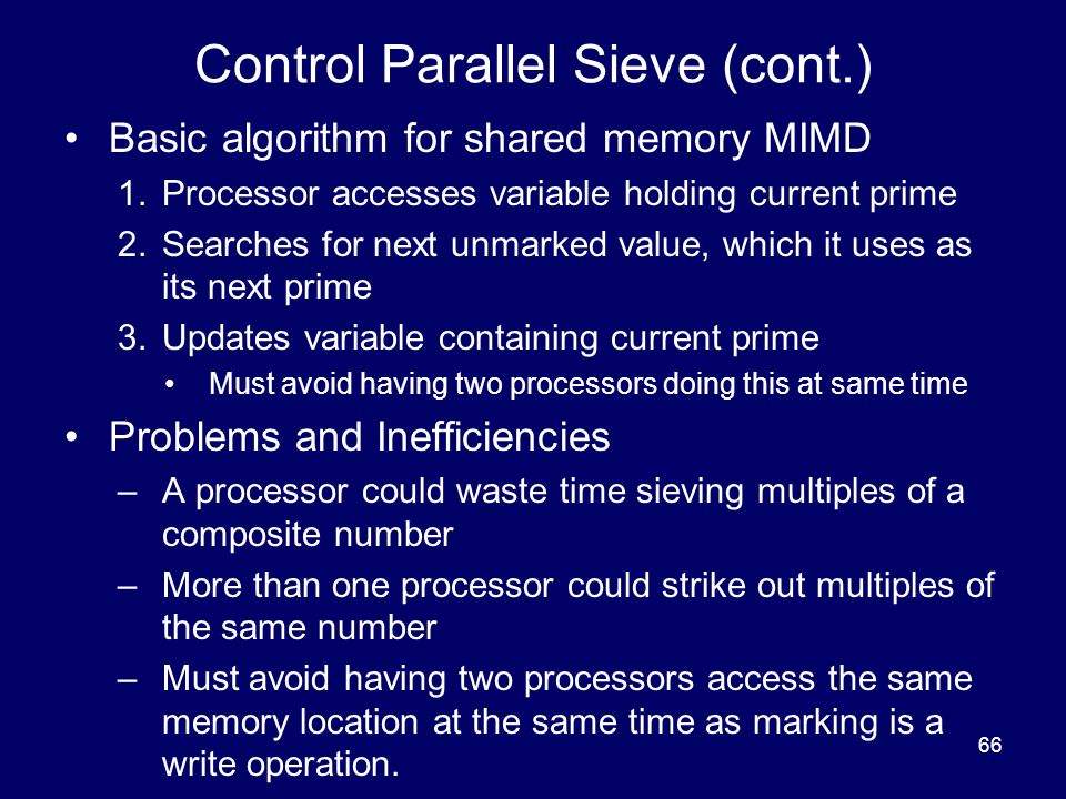 Control Parallel Sieve (cont.)