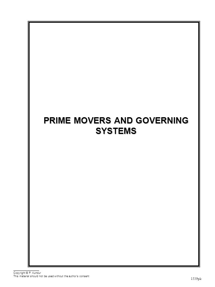 Prime Movers and Governing Systems