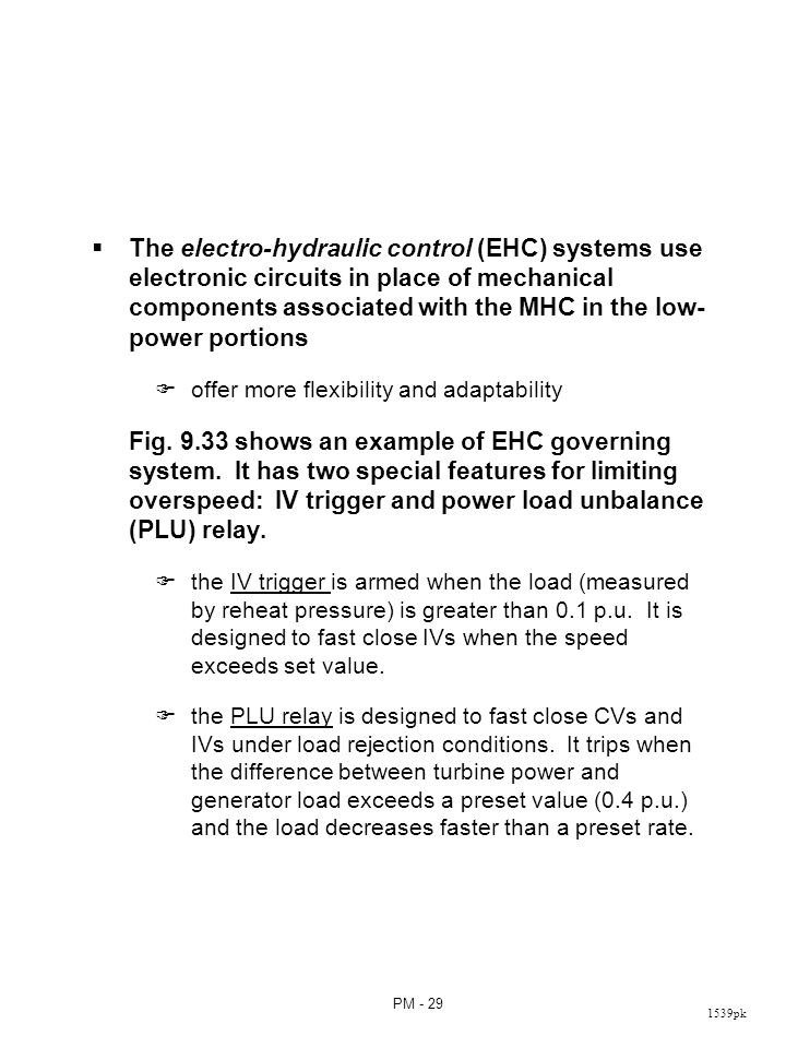 Fig. 9.33 EHC governing system with PLU relay and IV trigger