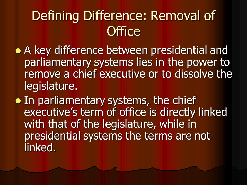 Defining Difference: Removal of Office