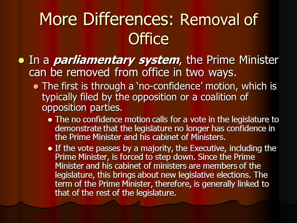 More Differences: Removal of Office