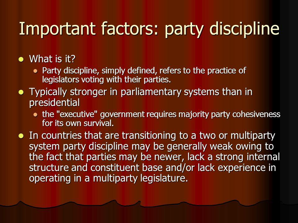 Important factors: party discipline