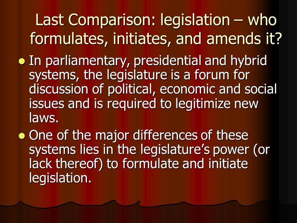 Last Comparison: legislation – who formulates, initiates, and amends it