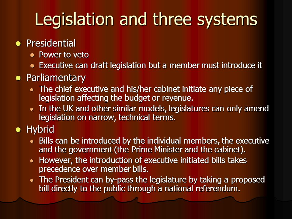 Legislation and three systems