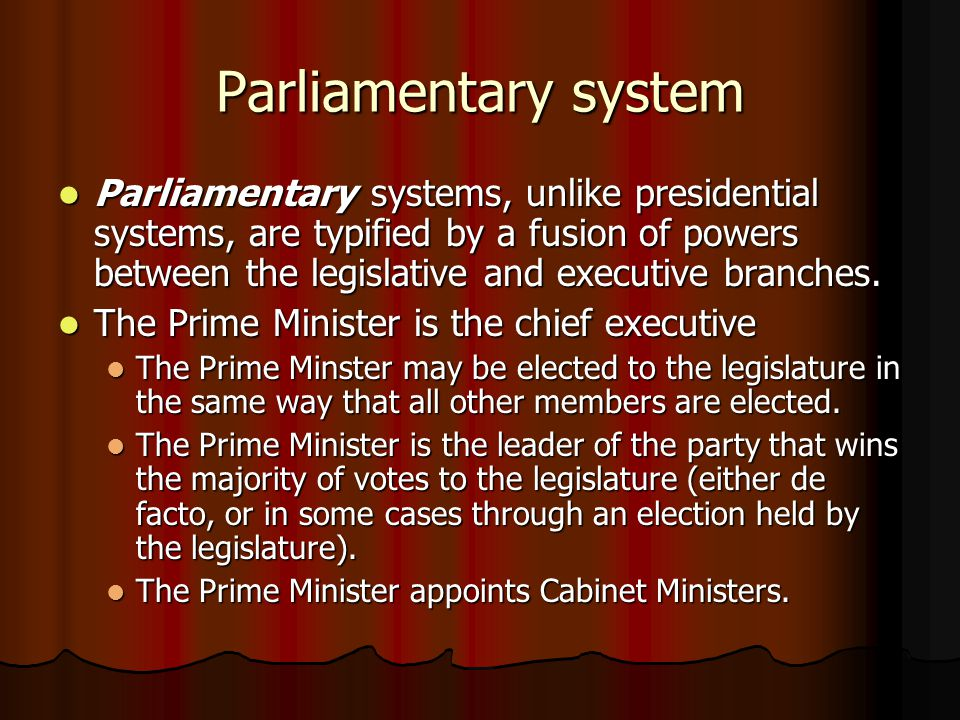 similarities between a parliamentary and presidential system Differences in parliamentary and presidential systems perhaps one of the most striking differences between parliamentary and presidential systems is the variance in the ability to control how a particular member votes.