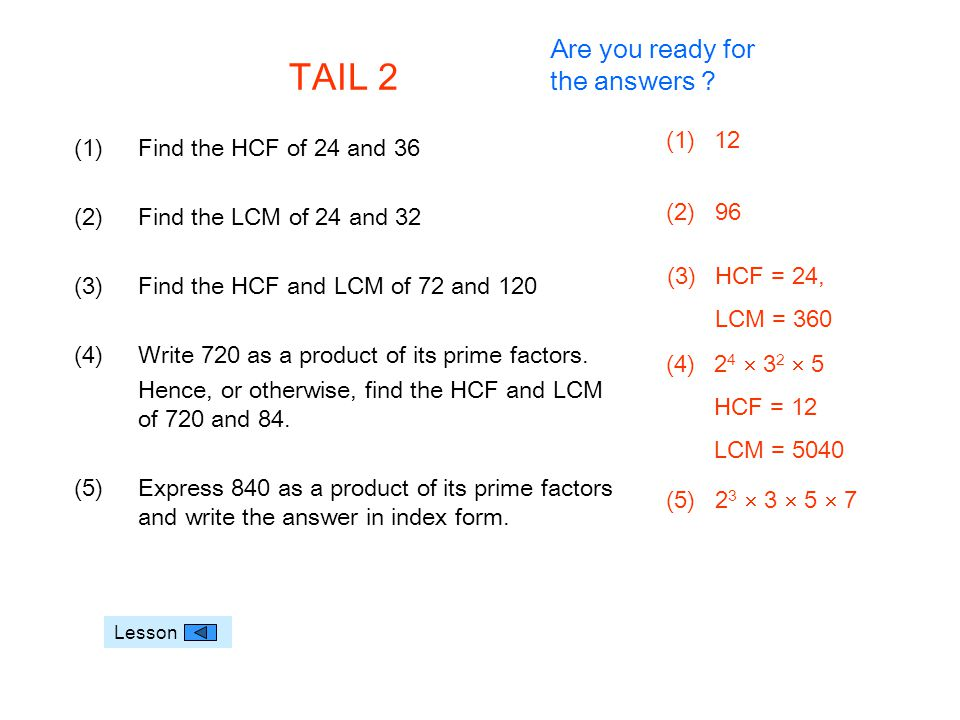 TAIL 2 Are you ready for the answers 12 Find the HCF of 24 and 36