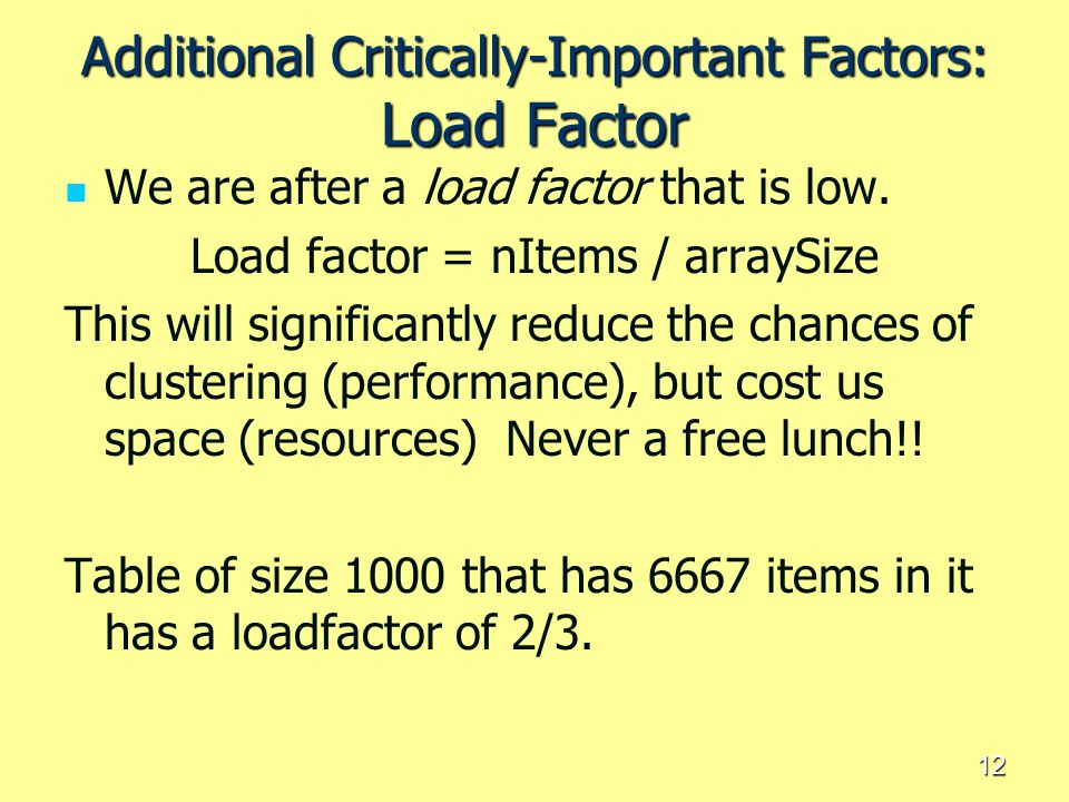 Additional Critically-Important Factors: Load Factor