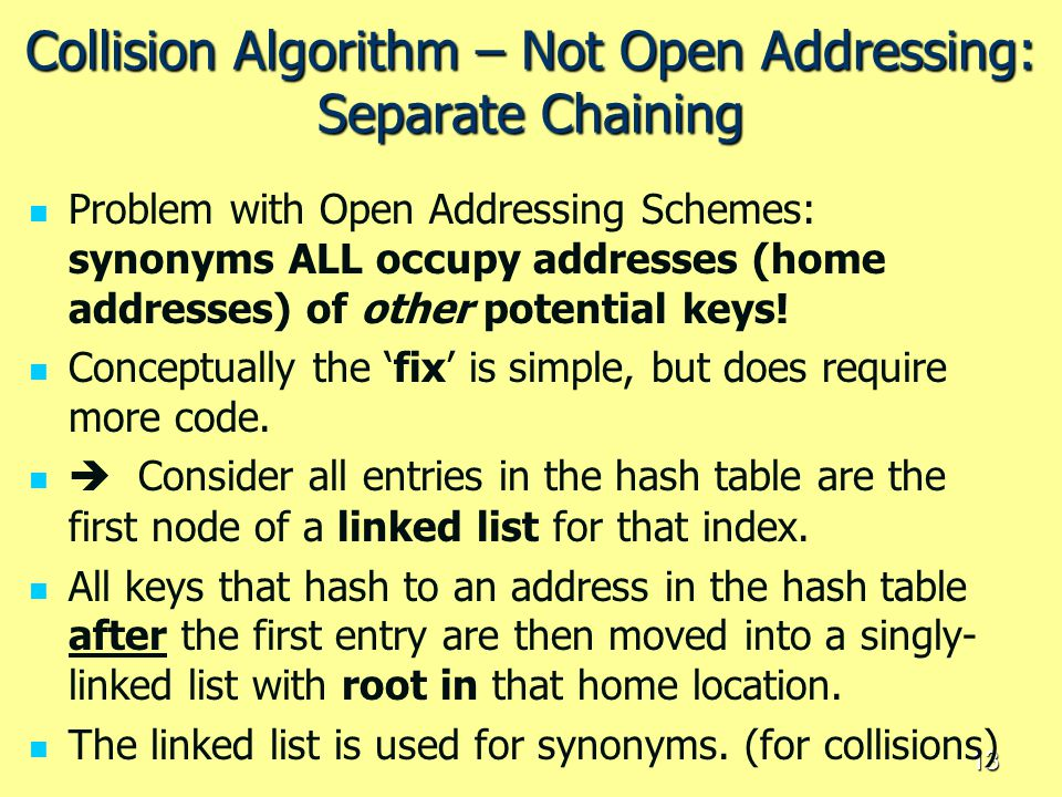Collision Algorithm – Not Open Addressing: Separate Chaining
