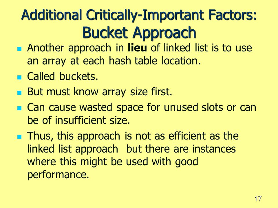 Additional Critically-Important Factors: Bucket Approach