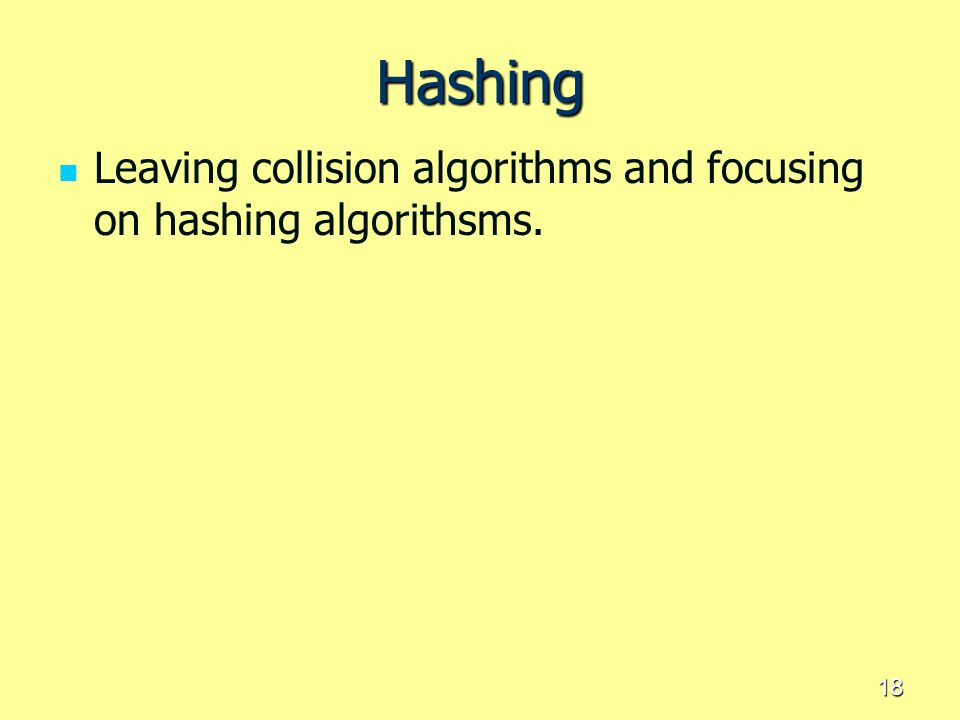 Hashing Leaving collision algorithms and focusing on hashing algorithsms.