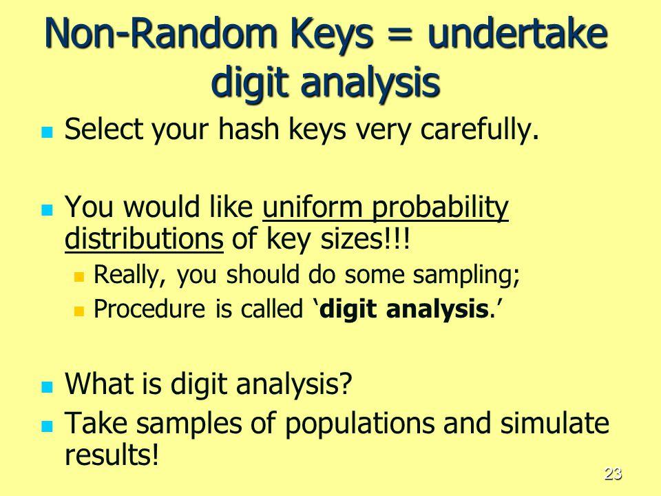 Non-Random Keys = undertake digit analysis