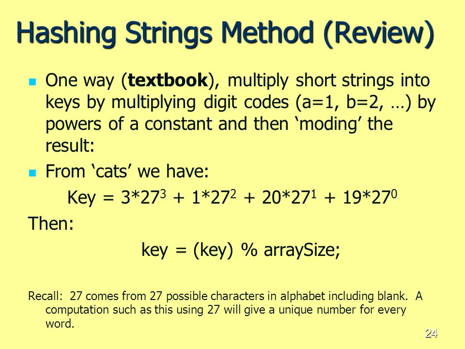 Hashing Strings Method (Review)