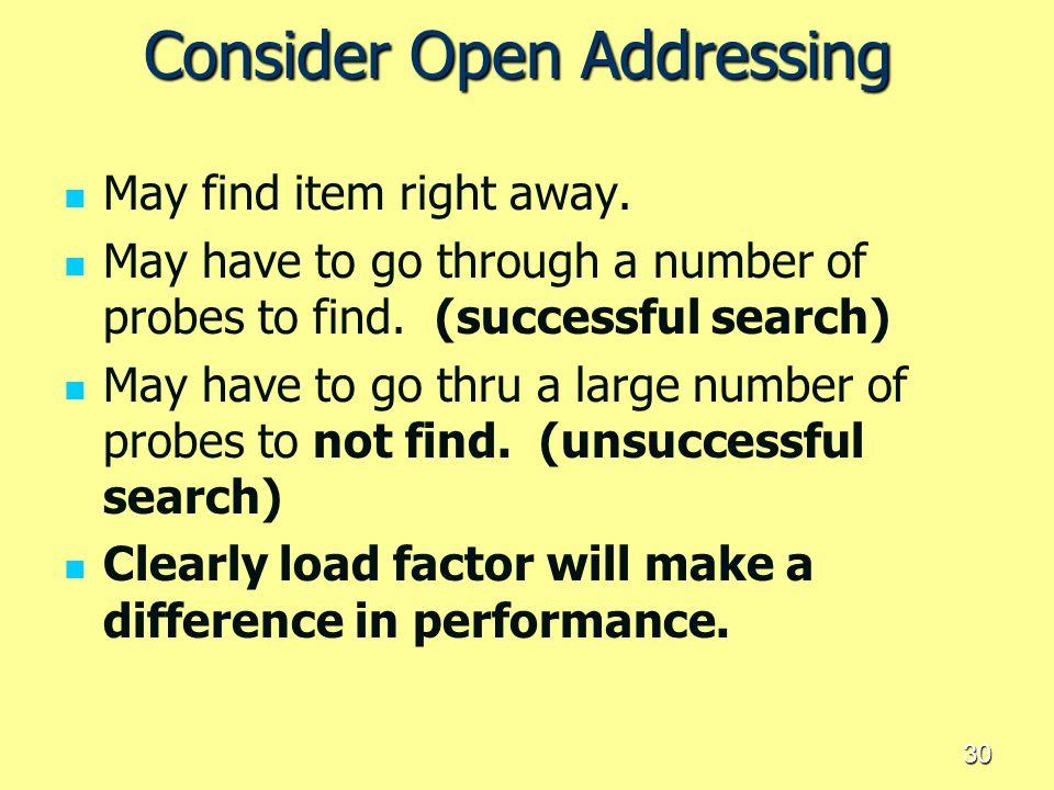 Consider Open Addressing