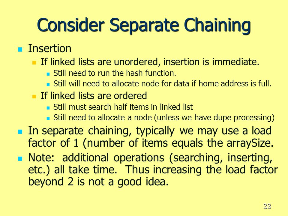 Consider Separate Chaining