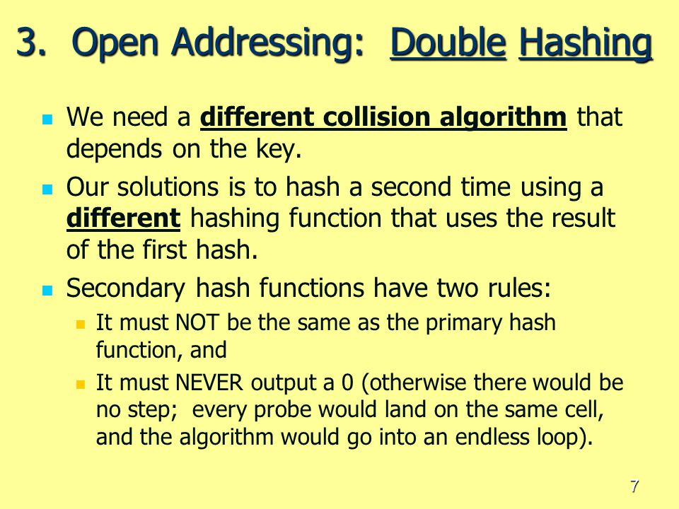 3. Open Addressing: Double Hashing