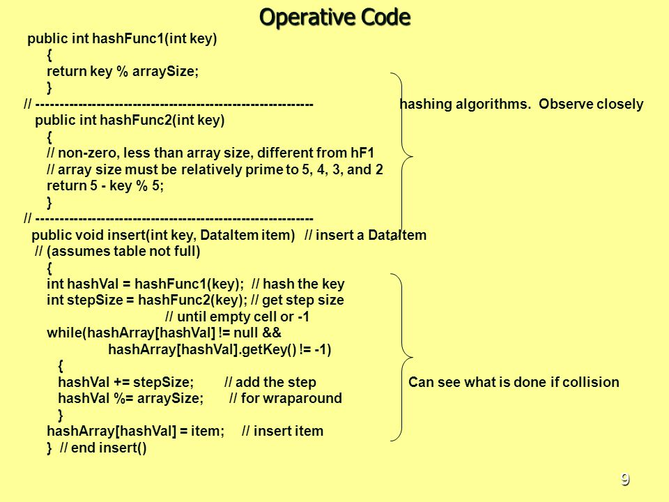 Operative Code public int hashFunc1(int key) { return key % arraySize;