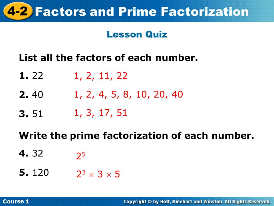 Factors and Prime Factorization Insert Lesson Title Here